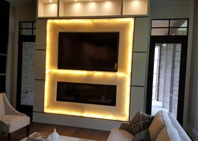 Livingroom fireplace quartz light