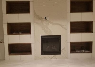 Livingroom fireplace marble, granite, quartz
