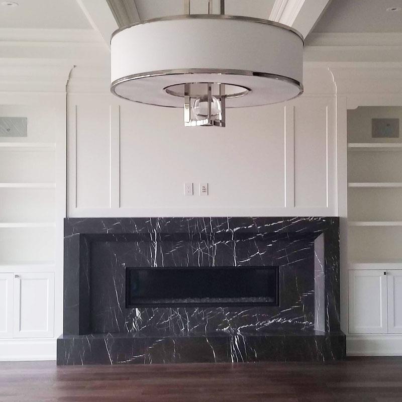 Fireplace marble, granite, quartz
